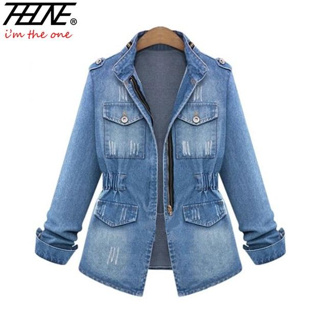 European Denim Jacket Women Jeans Coat Ripped Distressed Elastic ...