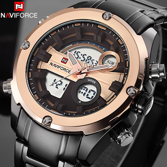 все цены на Top Brand NAVIFORCE Men Army Military LED Sports Watches Men's Quartz Analog Clock Male Waterproof Wrist watch Relogio Masculino