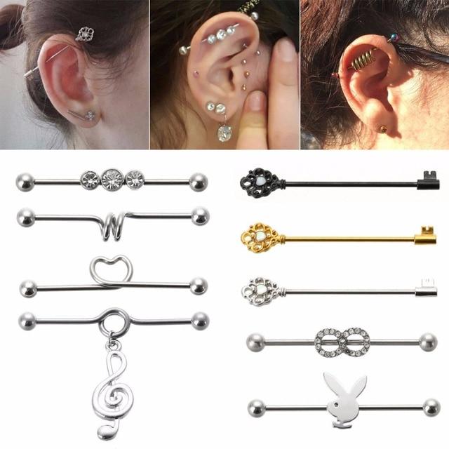 1 Pcs Hot Surgical Steel Bar Scaffold Ear Barbell Ring Body Piercing Earrings