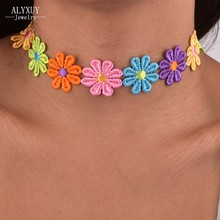 New fashion jewelry cotton lace flower choker necklace mix color gift for