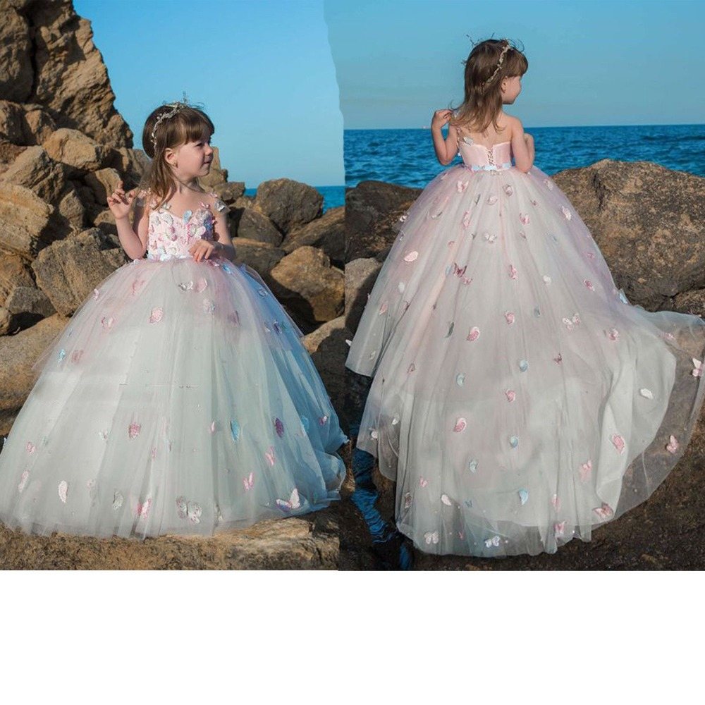 Cute 3D Floral   Flowers     Girl     Dress   Tulle Long Little   Girls   Party Communion Gown