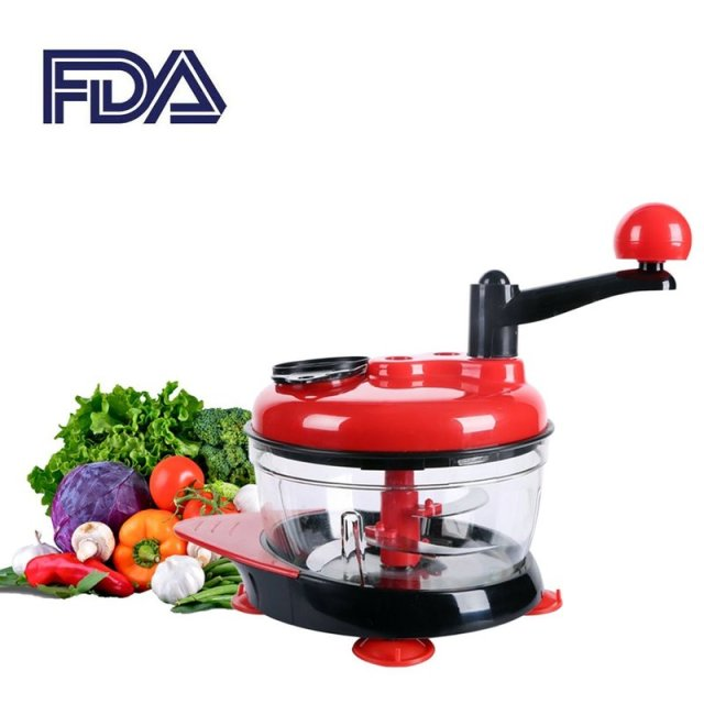 Food Processor Meat Slicer Machine Kitchen Manual Egg Mixer Fruit Vegetable Nut Meat Chopper Blender Grinder with 3 Gears