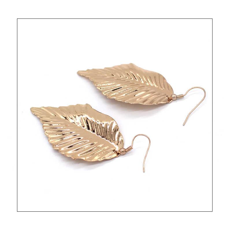 99 CARAT SUMNI Mùa Hè sản phẩm mới, cô gái trẻ đơn giản và tươi, trọng lượng nhẹ, vàng lá, earrings. cho Phụ Nữ Miễn Phí Vận Chuyển