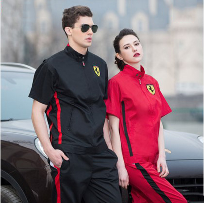 Set of Coat+Pants short sleeve 4S service car beauty saloon auto repair coat short sleeve car service
