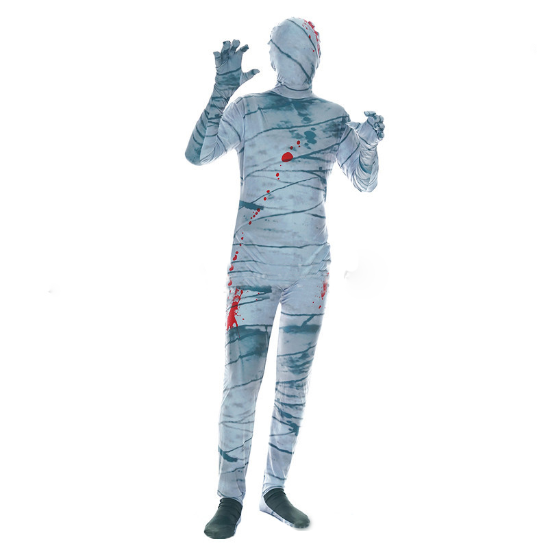 New Men's Adult Invisible Man One Piece Bloody Terrorist Mummy Costume Halloween Zombie Costume Party Ghost Festival Cosplay Cos