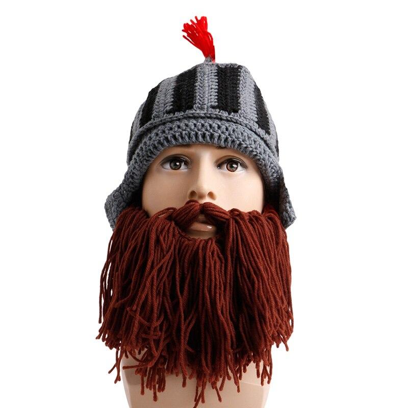 Tassel Cosplay Novelty Solid Roman Knight Knit Helmet Women Men Caps Winter Warm Beard Hats Beanies аксессуары для косплея cosplay