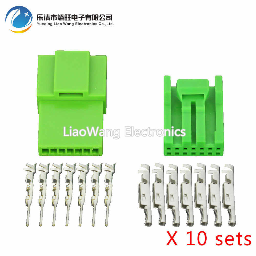 10 sets 7 pin series automotive instrument wiring harness plug green car  connector with terminal dj7071a