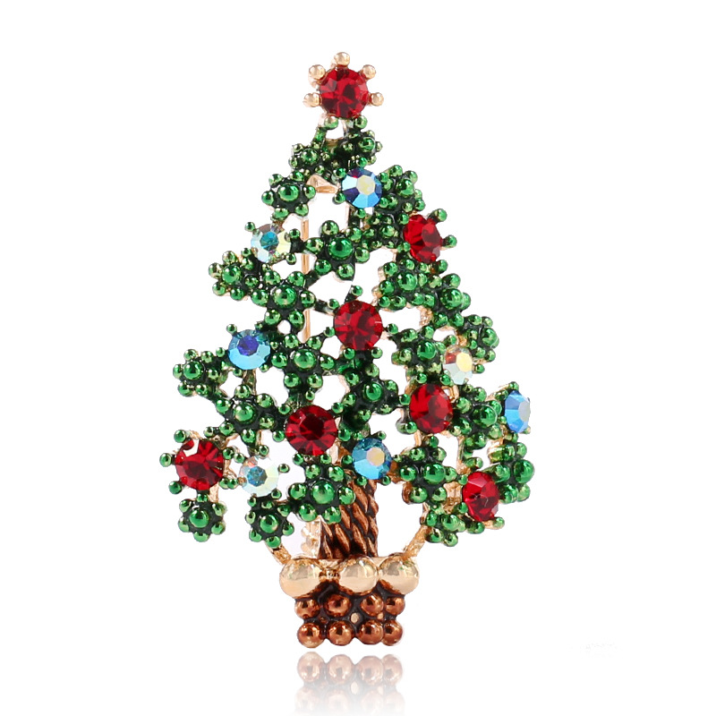 2018 New Christmas Brooch Tree Enamel Pin Crystal Brooches F