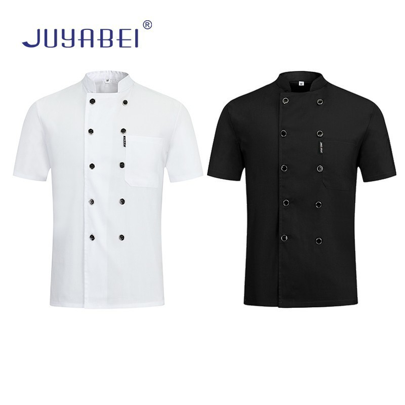 Double-breasted Short-sleeved Chef Uniform Unisex Summer Kitchen Cooking Jacket Restaurant Hotel Hairdressers Salon Work Shirt
