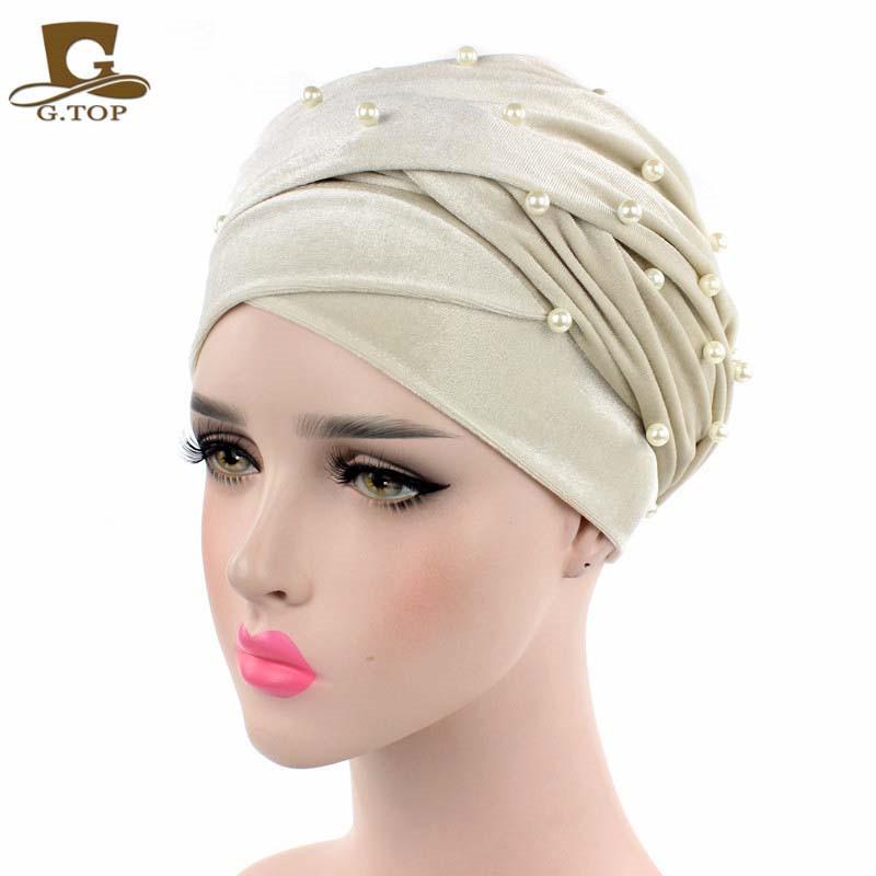 New luxury beaded pearled velvet turban long head scarf headwrap women muslim hijab Bandanas Hair Accessories 20