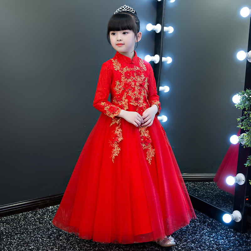 2018 New Arrival Children Girls Bright Red New Year Embroidery Flowers Princess Lace Dress Kids Wedding Birthday Ball Gown Dress 2017 new kids girls children s holiday pageant princess dress korean fashion embroidery flowers wedding birthday ball gown dress