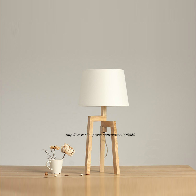 Modern Wooden Tripod Fold Table Lamps Lights Bedroom Desk White Bedside Reading Lighting