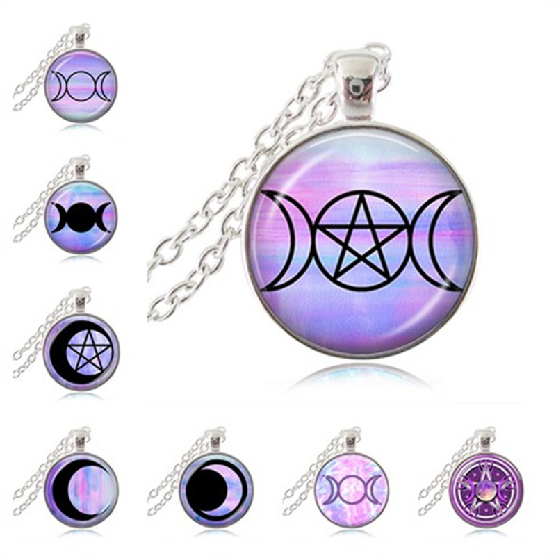 Triple Moon Goddess Necklace Pastel Goth Pendant Occult Wicca Jewelry Pentagram Choker Crescent Moon Jewellery Witch Accessories Детская кроватка