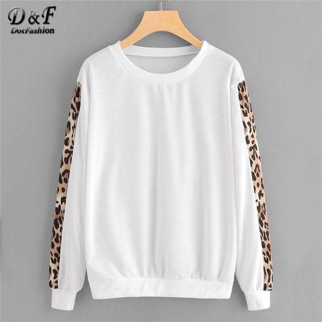 9ed09d3023a Dotfashion White Contrast Leopard Print Sleeve Sweatshirt Women Casual 2019  Autumn Long Sleeve Round Neck Female Spring Pullover