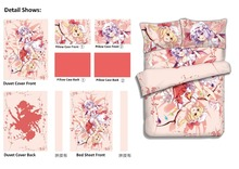 Japanese Anime Touhou Project Remilia Scarlet Flandre Scarlet Bed Sheet or Duvet Cover with Two Pillow cases bedding Linen