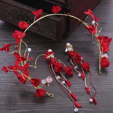 2 uds Boda China de estrás de perla falsa corona de novia pendientes de sombreros nuevo caliente