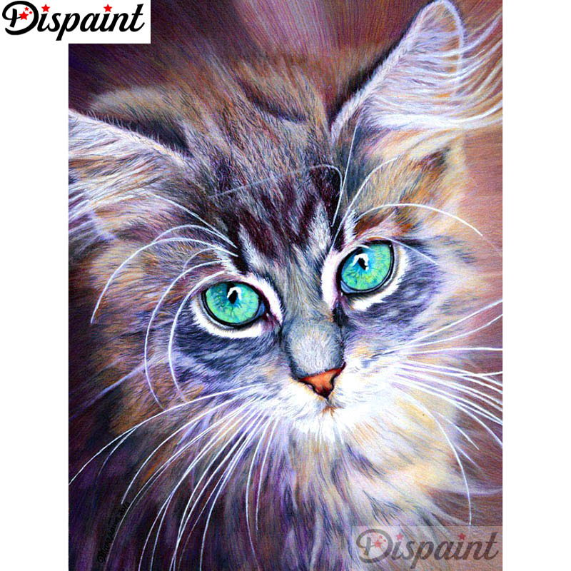 Dispaint Full SquareRound Drill 5D DIY Diamond Painting Animal cat 3D Embroidery Cross Stitch Home Decor Gift A12297