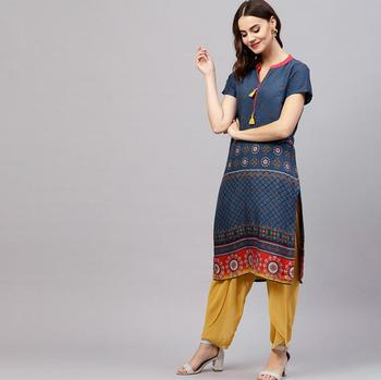 Woman Traditional Ethnic Printing Cotton Kurtas