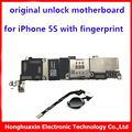 16GB 100% original unlock motherboard for iphone 5s with fingerprint mainboard+original home button Flex Cable Touch ID function