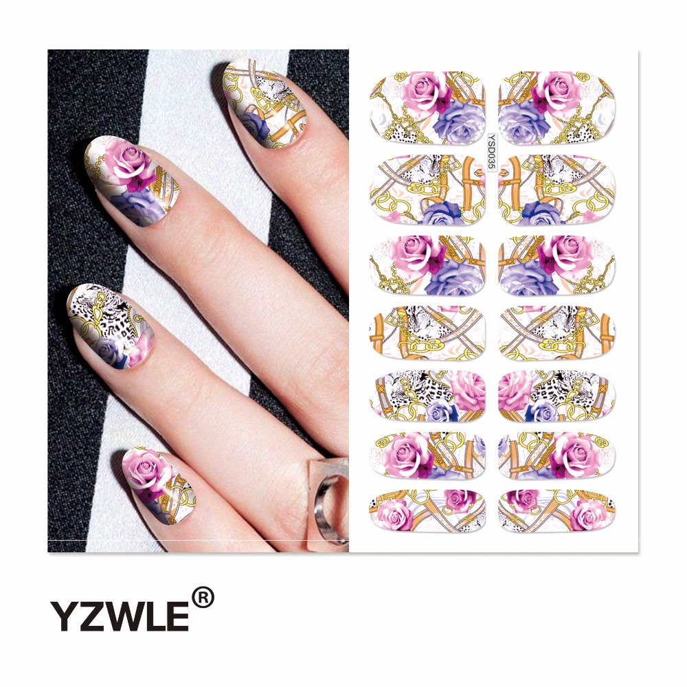 YZWLE 1 Sheet Water Transfer Nails Art Sticker Manicure Decor Tool Cover Nail Wrap Decal (YSD035) yzwle 3d french style white lace bow nail art sticker decal manicure tip nail art decoration xf ju079