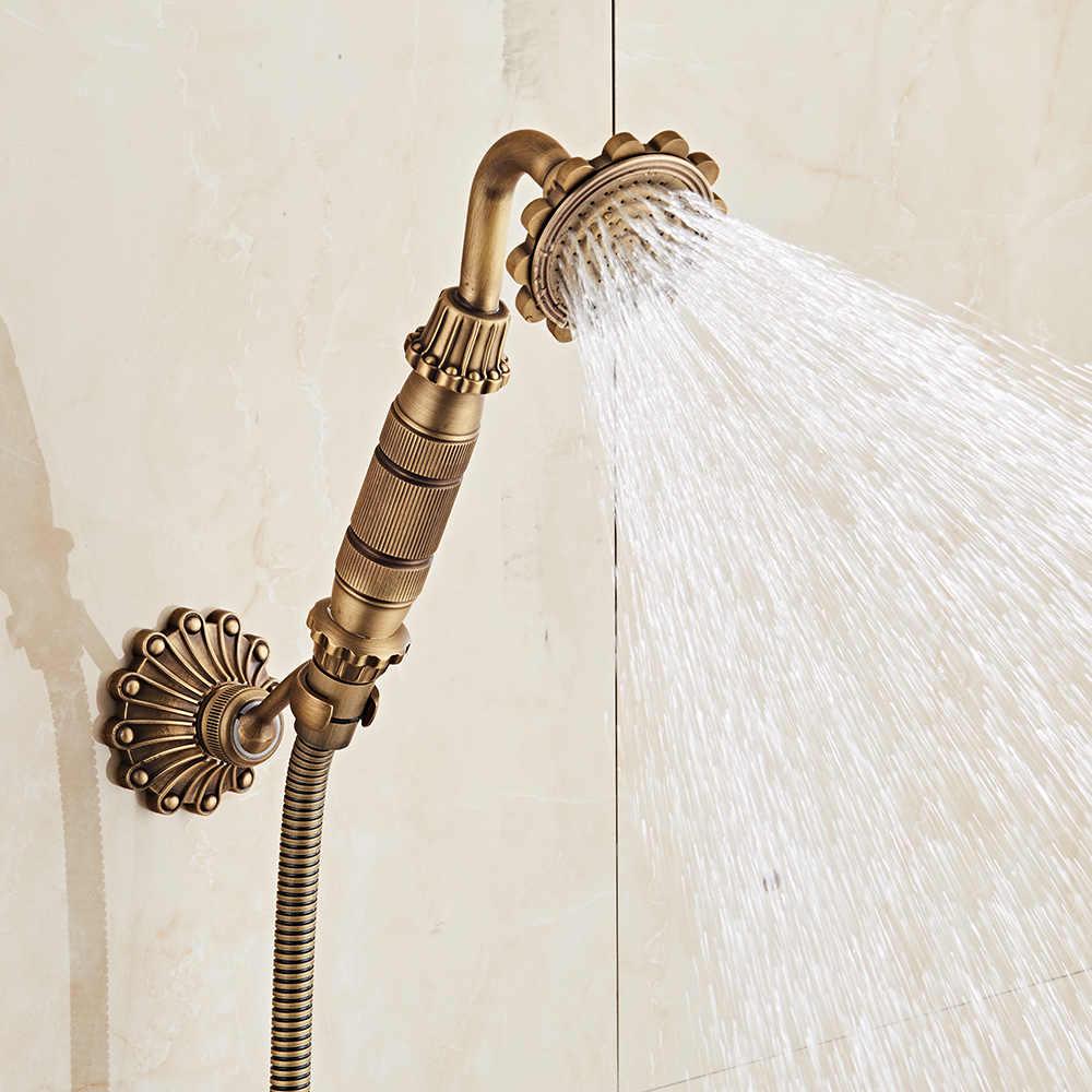 Antyczne Retro łazienka baterie prysznicowe miedź mosiądz luksusowy zestaw prysznicowy z rączka prysznica antyczny bateria łazienkowa do montażu ściennego ZR021