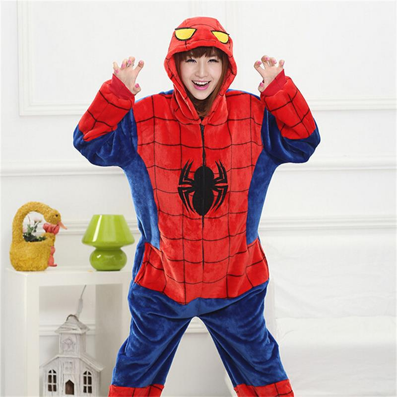 Spiderman Kigurumi Costume Onesie Adult Girl Women Flannel Warm Soft Animal Onepiece Winter Jumpsuit Anime Cosplay