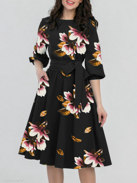 New Women classy Dresses Long-sleeved Lotus-leaf Sleeve Pure-color Big-pendulum with Round Neck fashion show design hot