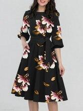 купить New Women classy Dresses Long-sleeved Lotus-leaf Sleeve Pure-color Big-pendulum Dresses with Round Neck fashion show design hot дешево