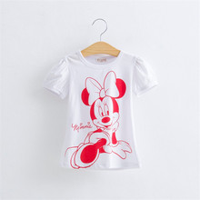 2016 New Baby Girls Hello Kitty Tshirt Minnie Cotton Short-Sleeved Casual T-shirts For Kids Children's T-Shirts 40G
