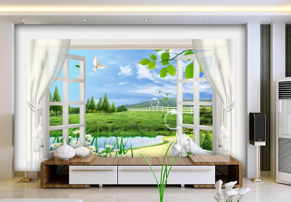 individuelle fototapeten 3d stereoskopischen fenster landschaft 3d tapete wohnzimmer dekoration. Black Bedroom Furniture Sets. Home Design Ideas