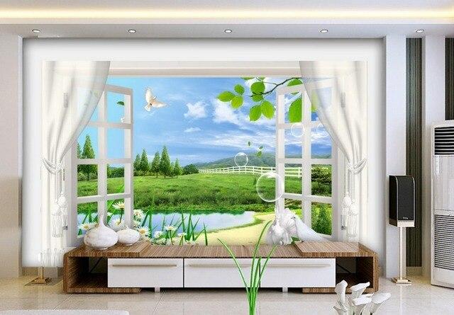 Individuelle fototapeten 3D stereoskopischen fenster landschaft 3d