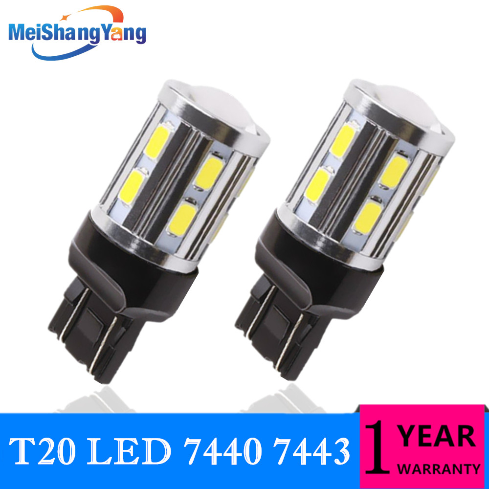2PCS T20 <font><b>W21</b></font> <font><b>5W</b></font> 7443 LED White Red Yellow LED Chip 12SMD 5730 Auto Brake Lights Reversing Lamp Bulb Car 7440 W21W Bulbs DRL 12V image