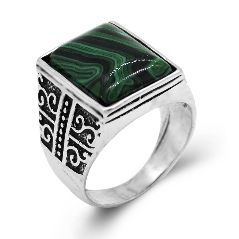 Newest Design Square Green Stone Ring Men And Women Silver Plated Fashion Vintage Ring Jewelry