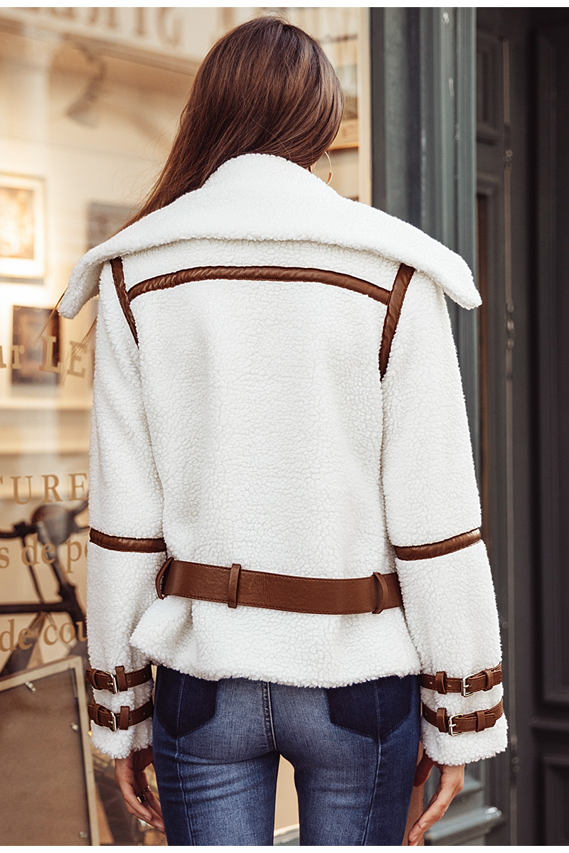 Simplee Turndown collar zipper winter women coat parka Sash shaggy white thick warm outerwear Winter down jacket streetwear 8