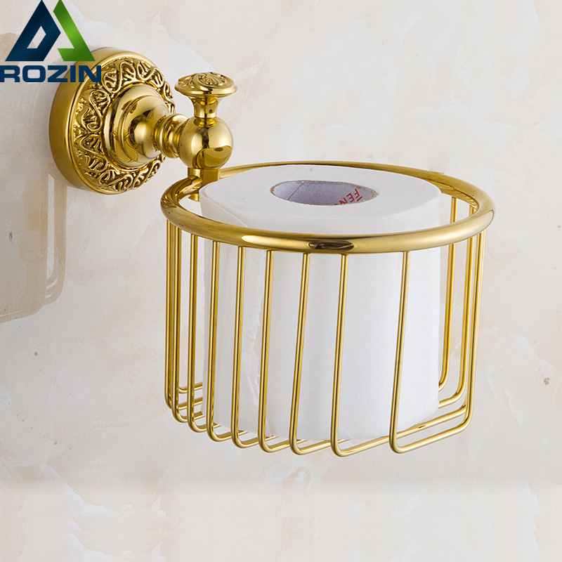 Wholesale And Retail Wall Mounted Brass Bathroom Golden Storage Basket Golden Toilet Paper Holder Free Shipping