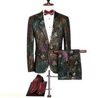 Для мужчин павлина узор Нарядные Костюмы для свадьбы красочные тонкий блесток костюмы пиджак и брюки новые модные роскошные Свадебная вече