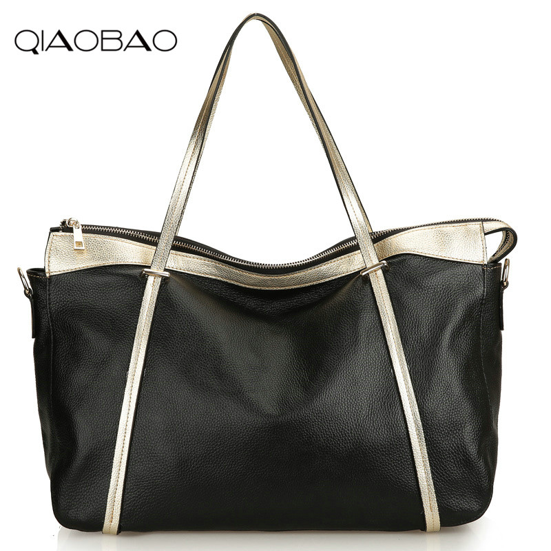 QIAOBAO Lady Casual Tote Genuine Leather Handbag Bag Fashion Vintage Large Shopping Bag Designer Crossbody Bags Big Shoulder Ba 2018 new style genuine leather woman handbag vintage metal ring cloe shoulder bag ladies casual tote fashion chain crossbody bag