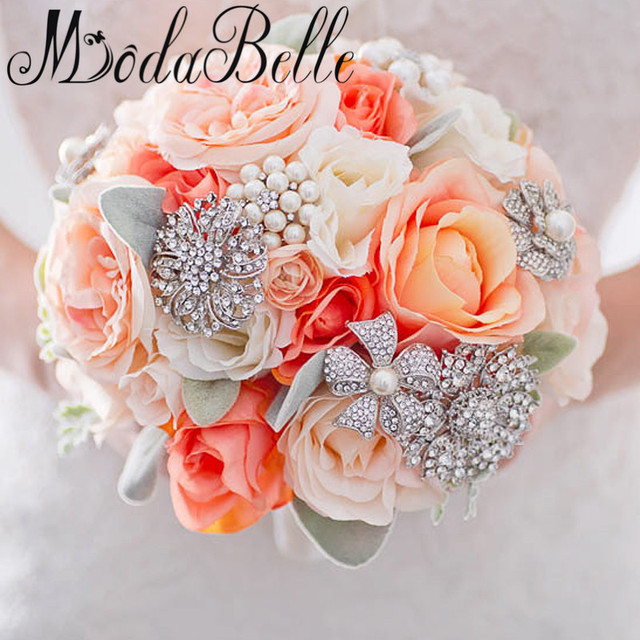 modabelle Orange Coral Ivory Wedding Flowers 2017 Fleur Artificielle ...