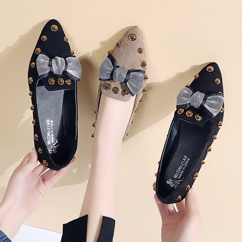 Spring Women Flats Bowtie Slip on Flat Shoes Rivets Boat Shoes Woman Casual Shoes sneaker Ladies Shoes zapatos mujer loafer 7080 10