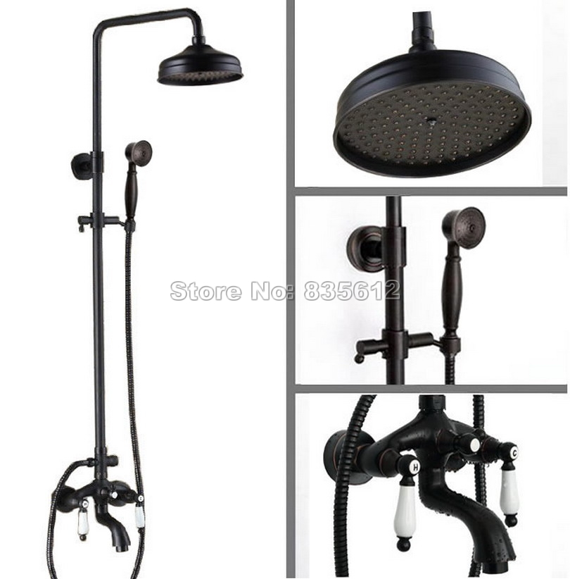 Classic Black Oil Rubbed Bronze Finish 8 inch Rainfall Shower Mixer Faucet Set with Bath Tub Taps Wall Mounted Wrs043