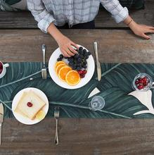 INS Nordic Digital Print Cotton linen Palm Leaf table runner Monstera Green Table Cloth Runner Placenmat