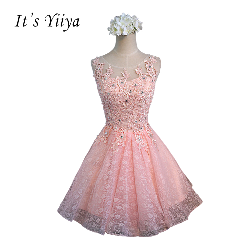 Its YiiYa Pink Red Champagne Lace Sequins O-neck Sleeveless Illusion Cocktail Dresses Knee-length Lace Short Formal Dress BF001