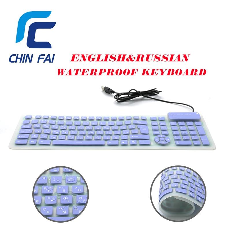 RUSSIAN KEYBOARD Flexible USB Keyboard Foldable Silicone Wire Keyboard Waterproof Silent Portable Laptop Keyboard with keypad