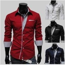 New Brand Men 'S Casual Shirt Long Sleeve Turn -Down Collar Solid Color Shirts Slim Fit Dress Shirt For Men Business Shirt недорого