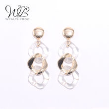WEALTHYBOO 2018 New Arrival Link Metal Acrylic Earring Modern for Women Fashion Jewelry(China)