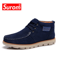 SUROM Brand High Quality Real Leather Mens Snow Boots Lace Up Winter Casual Shoes Sneakers For