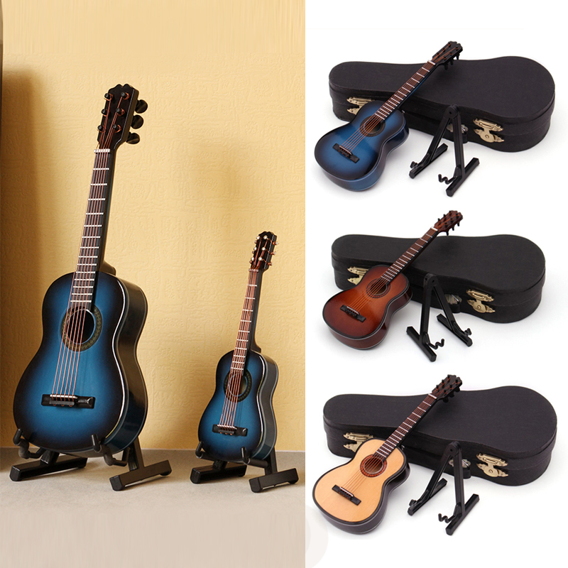 Miniature 20cm Guitar Model Wooden Replica With Stand &Patent Leather Case