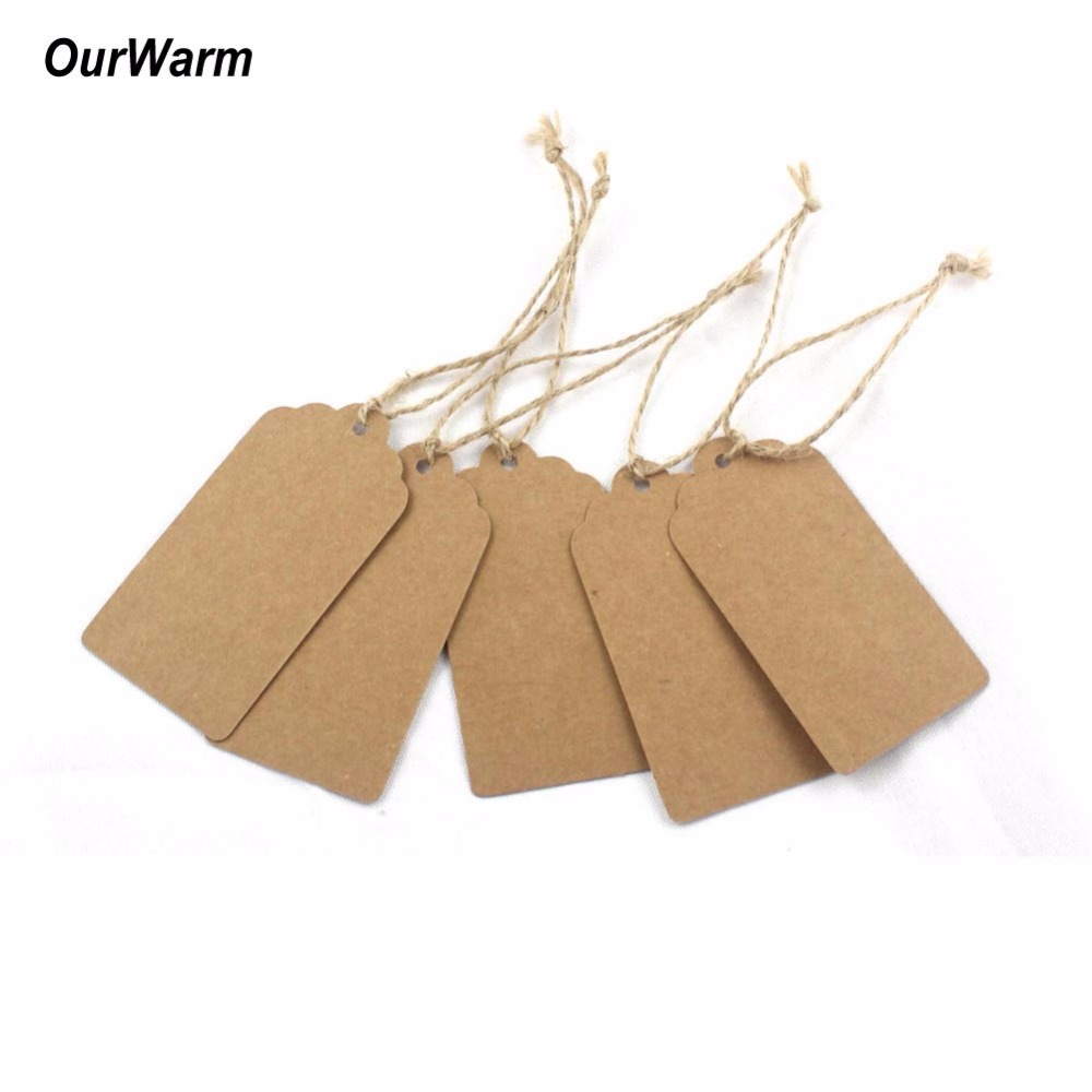 OurWarm 50PCS DIY Wedding Favor Kraft Paper Tags Paper Labels Card Tag Burlap Gifts Birthday Wedding Party Favors Decoration