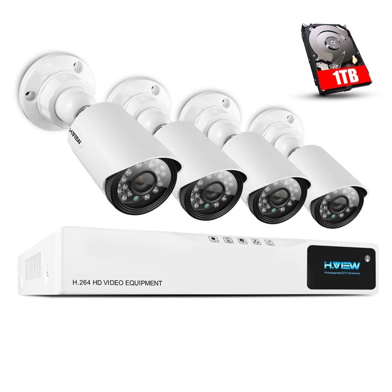 H. vista Sistema de Câmera De Segurança CCTV 720 P 1 TB HDD 4CH 4 AHD DVR 720 P Segurança CCTV Sistema de Câmera câmera Fácil Acesso Do Telefone Inteligente