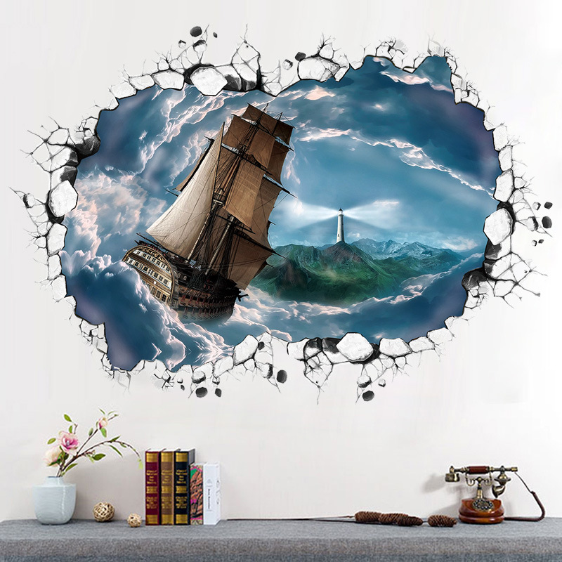 Stormy sea voyage breaking wall sticker simulation 3D sea landscape bedroom living room crack mural on the wall art typhoon